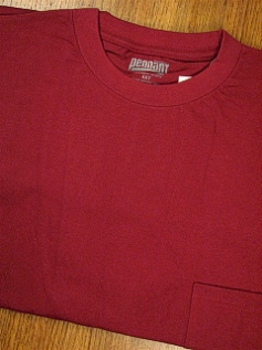 #156480. 4XL BIG. WINE Retail $  18.00 Short Sleeve Tee by PENNANT SPORT. PREMIUM POCKET TEE Whs A: 29 FW:  2