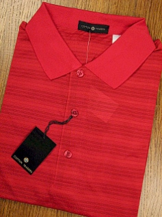 #132507. L TALL. RED Retail $  44.00 Short Sleeve Stay Dry by CTTON TRADERS. TECH HORIZONTAL TEXTR Whs:  3,