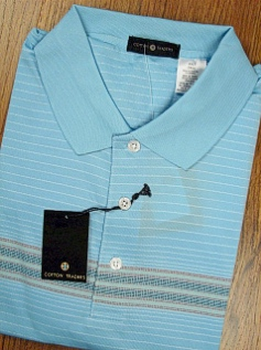 #208431. 2XL TALL. BLUE Retail $  44.00 Short Sleeve Stay Dry by CTTON TRADERS. TECH ENGINEER STRIPE Whs A:  2