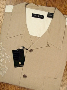 #065793. XL TALL. TAUPE Retail $  69.00 Short Sleeve Updated by CTTON TRADERS. SILK FLOWER EMBROIDER Whs:  1,