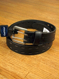 #079723. 46 . BLACK Retail $  40.00 Belts by OUTFITTER. 38MM BRIDLE DBL PRONG FW:  1,