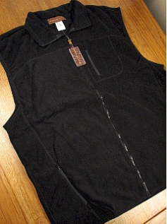 #280473. L TALL. BLACK Retail $  42.00 Outerwear by WOOD LAND TRAIL. POLAR FLEECE ZIP VEST Whs A:  1