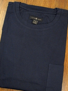 #097019. 2XL TALL. NAVY Retail $  25.00 Long Sleeve Tee by CTTON TRADERS. POCKET TEE LONGSLV Whs A:  3