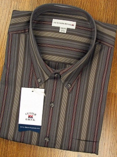 #023432. 2XL BIG. OLIVE Retail $ 100.00 Long Sleeve Cotton by CUTTER BUCK. MALBEC STRIPE Whs A:  1