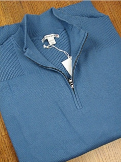 #106014. 2XL BIG. BLUE Retail $  98.00 Sweaters by CUTTER BUCK. LEGEND SUPIMA HALFZIP Whs A:  1