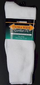 #202358.  . WHITE Retail $   9.99 King Sized Socks by EXTRA WIDE SOCK. KING SIZE X-WIDE <font face=arial size=2><BR>Special Order Item.</font> <B>Item stocked by Manufacturer.  Allow up to 3 weeks for delivery.</B>