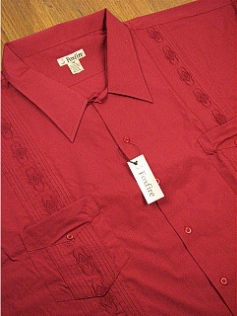#096799. 5XL TALL. BURGUNDY Retail $  46.00 Short Sleeve by FOXFIRE. GUAYABERA Whs A:  1