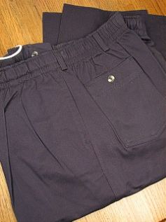 #347457. 46 . NAVY Retail $  55.00 Cotton Casual Pants by CREEKWOOD. ELASTIC TWILL IRR Whs A:  5 FW:  1