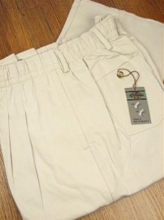 #347653. 42 . STONE Retail $  55.00 Cotton Casual Pants by CREEKWOOD. ELASTIC TWILL IRR Whs A:  7