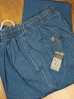 #313120. 42 . INDIGO Retail $  55.00 Cotton Casual Pants by CREEKWOOD. ELASTIC DENIM IRR Whs A:  6