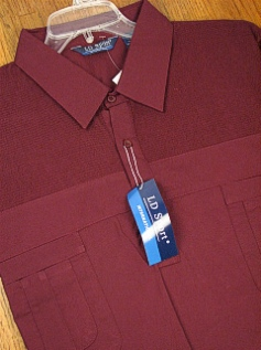 #347725. 4XL BIG. BURGUNDY Retail $  44.00 Short Sleeve by LD SPORT. FRENCH KNIT 2-POCKET Whs:  1,FW:  1,