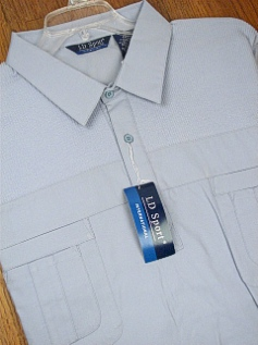 #347701. 2XL BIG. LT BLUE Retail $  44.00 Short Sleeve by LD SPORT. FRENCH KNIT 2-POCKET Whs A:  1