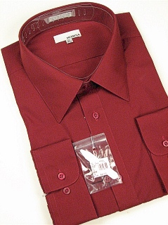 #147224. 22.0 34-35 Big. BURGUNDY Retail $  40.00 Dress Long Sleeves by MODENA. POINT BLEND BROADCLTH Whs A:  2 FW:  1