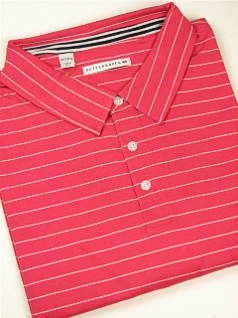 #276391. 3XL BIG. PINK Retail $  82.50 Short Sleeve Luxury by CUTTER BUCK. CHADWICK STRIPE POLO FW:  1