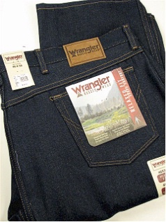 #223863. 52 34. NAVY Retail $  35.00 Cotton Jean by WRANGLER. RELAXED FIT RIGID Whs A:  1 <BR><font size=2><b>Incl units held @ mfg.