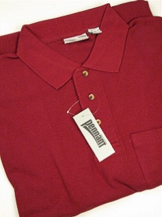 #069957. 3XL TALL. WINE Retail $  39.00 Short Sleeve Pocket by PENNANT SPORT. POCKET PIQUE POLO Whs A:  3