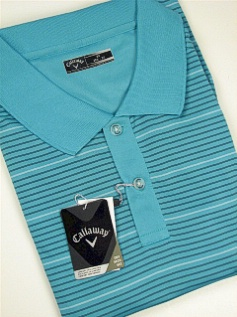 #165718. 4XL BIG. TURQUOIS Retail $  85.00 Short Sleeve Stay Dry by CALLAWAY GOLF. FANCY STRIPE POLO Whs A:  1