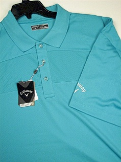 #294971. 4XL BIG. TURQUOIS Retail $  85.00 Short Sleeve Stay Dry by CALLAWAY GOLF. TEXTURED BLOCK POLO Whs A:  1