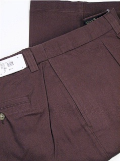 #357667. 52 36. BROWN Retail $  55.00 Cotton Casual Pants by FAMOUS MAKER. PLEAT EXTEND-A-WAIST FW:  1
