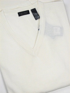 #184012. XL TALL. NATURAL Retail $  69.00 Sweaters by CELLINI. V-NECK MERINO BLEND Whs A:  1