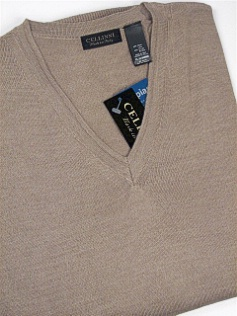 #166724. 3XL BIG. TAUPE Retail $  69.00 Sweaters by CELLINI. V-NECK MERINO BLEND Whs A:  1