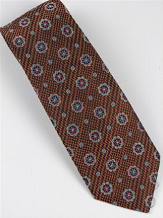 #212056.  . COPPER Retail $  46.00 Extra Long Ties by BRUNO PIATTELLI. JACQUARD XL FLOWERS FW:  1,