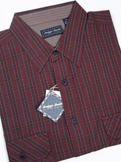 #235291. XL TALL. WINE Retail $  52.00 Long Sleeve Cotton by INDYGO SMITH. 2-POCKET FLAP WASHED Whs:  1,