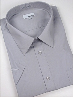 #027216. 20.0 TALL. GRAY Retail $  34.00 Short Sleeve Dress Shirts by MODENA. POINT BLEND BROADCLTH FW:  1