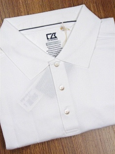 #056557. 3XL BIG. WHITE Retail $  89.50 Short Sleeve Luxury by CUTTER BUCK. DRYTEC LUX JACK POLO Whs:  1,