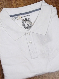 #189976. 3XL BIG. WHITE Retail $  95.00 Short Sleeve Luxury by CUTTER BUCK. RAINY DAY PIQUE POLO Whs A:  1 FW:  1