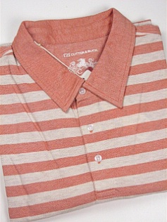 #028185. XL TALL. CANTALOP Retail $  95.00 Short Sleeve Luxury by CUTTER BUCK. OXFORD STRIPE POLO Whs A:  1