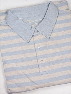 #317542. 4XL TALL. BLUE Retail $  95.00 Short Sleeve Luxury by CUTTER BUCK. OXFORD STRIPE POLO Whs:  1,