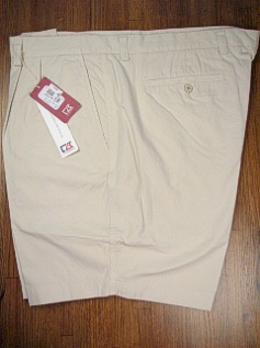 #148814. 50 . STONE Retail $  92.00 Shorts by CUTTER BUCK. EASTLAKE SOLID PLEAT Whs A:  2