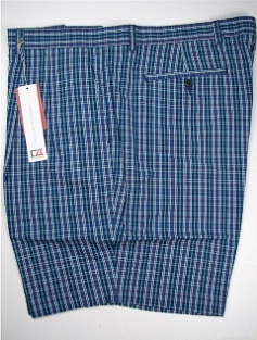 #083117. 52 . NAVY Retail $  95.00 Shorts by CUTTER BUCK. TIDAL PLAID PLEAT Whs A:  2