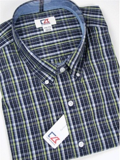 #104937. 2XL BIG. NAVY Retail $ 115.00 Long Sleeve Cotton by CUTTER BUCK. INSIDE PASSAGE PLAID Whs A:  1