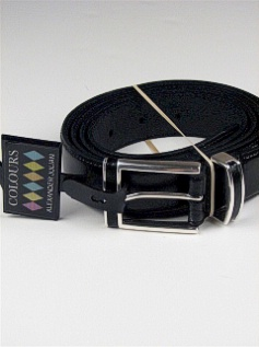 #311421. 58 . BLACK Retail $  35.00 Belts by COLOURS. 32MM LEATHER INLAY Whs A:  2