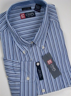 #277761. 4XL BIG. BLUE Retail $  59.50 Long Sleeve BD/BU by CHAPS. INGALLS STRIPE FW:  1