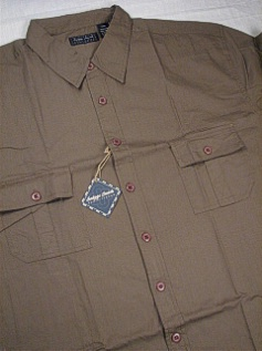 #336877. L TALL. OLIVE Retail $  55.00 Short Sleeve Updated by INDYGO SMITH. 2-FLAP SOLID Whs A:  1