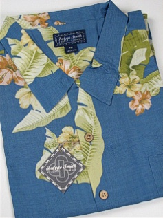 #350901. 2XL BIG. BLUE Retail $  65.00 Short Sleeve Tropical by INDYGO SMITH. RAYON TROPICAL FLORAL Whs A:  1
