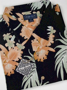 #097147. 2XL BIG. BLACK Retail $  65.00 Short Sleeve Tropical by INDYGO SMITH. RAYON TROPICAL LEAVES Whs:  2,