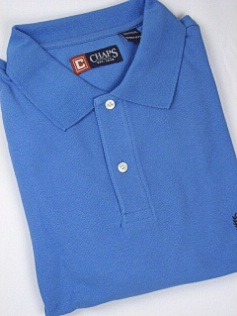 #049360. 2XL TALL. BLUE Retail $  47.50 Short Sleeve by CHAPS. SOLID PIQUE POLO Whs A:  1