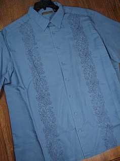 #209203. 4XL TALL. BLUE Retail $  75.00 Short Sleeve by CUBAVERA. ORNATE PANEL Whs A:  1