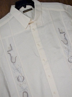 #232713. 4XL TALL. ECRU Retail $  75.00 Short Sleeve by CUBAVERA. ORNATE TUCK PANEL Whs:  1,