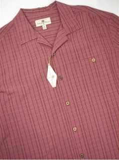 #119599. 4XL BIG. ROSE Retail $  60.00 Short Sleeve Updated by ISLAND SHORES. TONAL CAMP STRIPE Whs A:  1