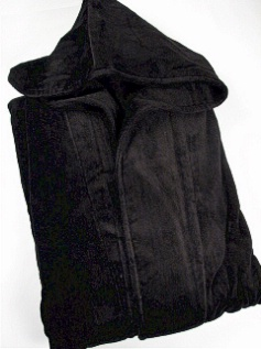 #085249. 2XL BIG. BLACK Retail $ 119.00 Robes by STATE-O-MAINE. TERRY HOODED MAXI Whs A: 29