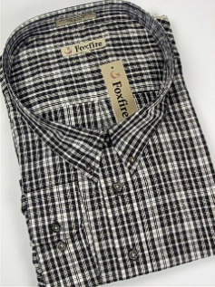 #344766. 6XL BIG. BLACK Retail $  46.00 Long Sleeve BD/BU by FOXFIRE. BLEND PLAID FW:  1