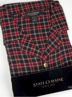 #080260. 2XL BIG. RED Retail $  45.00 Pajamas by STATE-O-MAINE. FLANNEL PLAID PAJAMA Whs A:  1