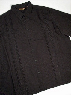 #194174. 4XL TALL. BLACK Retail $  75.00 Short Sleeve by CUBAVERA. TUCK PLEAT STITCHING Whs:  1,