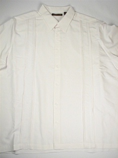 #173425. 4XL TALL. WHITE Retail $  75.00 Short Sleeve by CUBAVERA. TUCK PLEAT STITCHING Whs A:  2