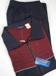 #201342. 4XL TALL. BURGUNDY Retail $  90.00 Jog Set by LD SPORT. COT/PLY JOG SUIT PIPG Whs:  7,FW:  1,